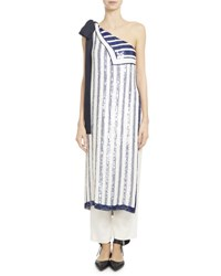 Monse Sequin Striped Chiffon One Shoulder Top White Blue White Blue