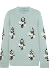 Prada Intarsia Wool And Cashmere Blend Sweater Mint
