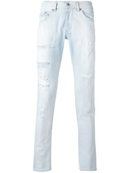 Dondup Ripped Skinny Jeans Men Cotton Polyester 38 Blue