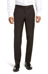 Ted Baker London Jefferson Flat Front Solid Wool Trousers Brown