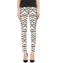 Giambattista Valli X 7 For All Mankind Zebra Print Skinny High Rise Jeans Tiger