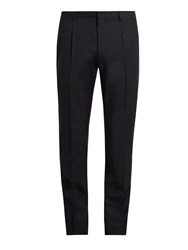 Valentino Slim Leg Wool And Mohair Blend Trousers Navy