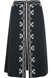 Vilshenko Erin Embroidered Wool Crepe Midi Skirt