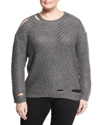 Zero Degrees Celsius Plus Deconstructed Diamond Knit Sweater Grey