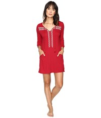 Lucky Brand Embellished Knit Tunic W Pocket Blazer Red Women's Clothing