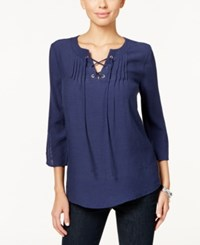 Ny Collection Petite Three Quarter Sleeve Pleated Blouse Eclipse Embrace