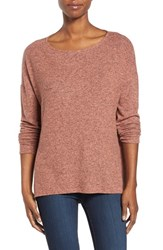Gibson Women's Cozy Fleece Ballet Neck High Low Pullover Heather Coral Apple