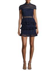 Romeo And Juliet Couture Cap Sleeve Ruffled Lace Dress Navy