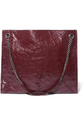 Saint Laurent Niki Large Quilted Crinkled Glossed Leather Tote Burgundy