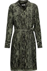 Equipment Delany Snake Print Washed Silk Mini Dress Army Green