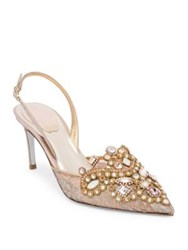 Rene Caovilla Lace Embroidered Slingback Pumps Pink Grey