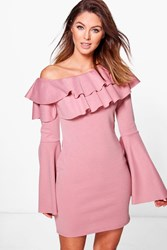 Boohoo Off One Shoulder Frill Bodycon Dress Rose