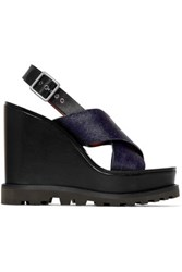 Marc By Marc Jacobs Irving Calf Hair And Leather Wedge Sandals Midnight Blue