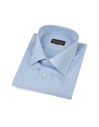 Del Siena Handmade Light Blue Twill Cotton Italian Slim Dress Shirt