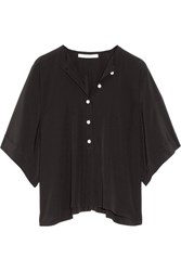 Givenchy Faux Pearl Embellished Silk Satin Top Black