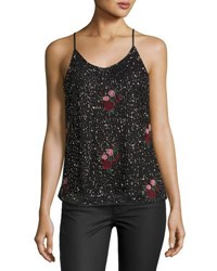 Romeo And Juliet Couture Floral Embroidered Beaded Tank Black Pattern