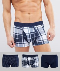 Burton Menswear Trunks In Navy 3 Pack