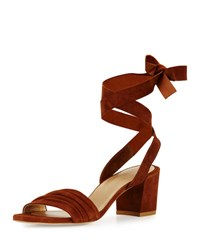 Stuart Weitzman Swifty Suede Ankle Wrap Sandal Tan