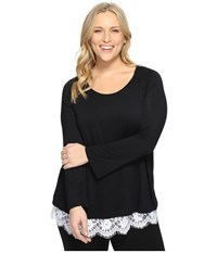 Karen Kane Plus Size Lace Hem Boat Neck Top Black Off White Women's Blouse Multi