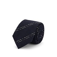 Alexander Olch Striped Textured Silk Necktie Navy
