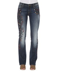 Driftwood Floral Embroidered Jeans Medium Blue