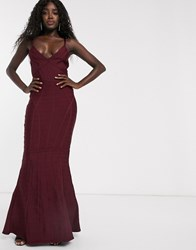 Lipsy Fishtail Maxi Bandage Dress In Berry Red