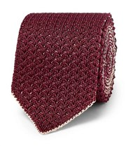 Brioni 6Cm Reversible Knitted Silk And Linen Blend Tie Burgundy