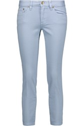 Tory Burch Alexa Cropped Low Rise Skinny Jeans Light Denim