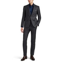 Cifonelli Montecarlo Plaid Wool Two Button Suit Charcoal