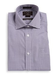 Black Brown Checkered Cotton Dress Shirt Purple