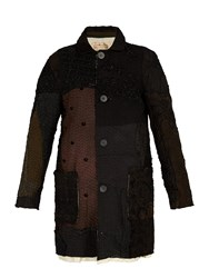 By Walid Malcolm Patchwork Silk Coat Brown