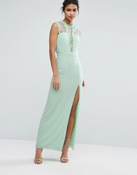 Elise Ryan Sleeveless Maxi Dress With Contrast Lace Bodice Misty Jade Green