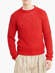 Rick Owens Red Chunky Knit Sweater