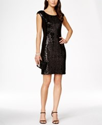 Connected Cap Sleeve Sequin Scallop Dress