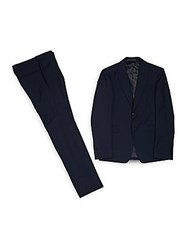 Valentino Solid Wool Suit Navy
