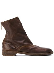 Guidi Distressed Zip Boots Men Leather 40 Brown