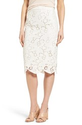 Halogenr Women's Halogen Scalloped Lace Pencil Skirt Ivory Lace