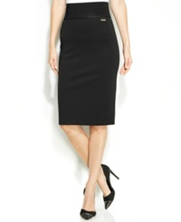 Calvin Klein Wide Waistband Pencil Skirt Black