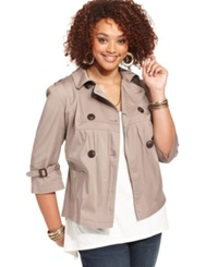 American Rag Plus Size Military Double Breasted Jacket Cinder