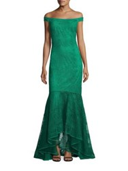 Kay Unger Crochet Lace Gown Emerald