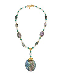 Jose And Maria Barrera Golden Beaded Abalone Y Drop Pendant Necklace Women's