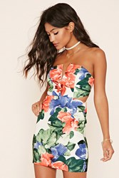 Forever 21 Floral Cutout Bodycon Dress Ivory Blue