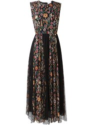 Red Valentino Floral Print Pleated Dress Black