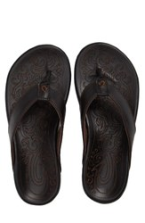 Olukai Men's Waimea Flip Flop Black Black Leather