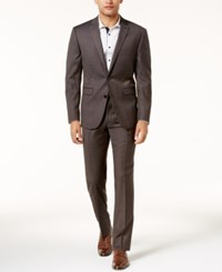 Vince Camuto Men's Slim Fit Brown Textured Suit