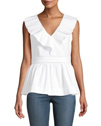 Kate Spade Sleeveless V Neck Ruffle Top White