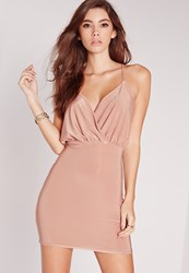 Missguided Slinky Strappy Plunge Bodycon Dress Pink Pink