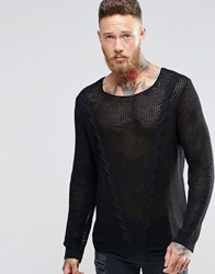 Asos Cable Jumper In Mesh Black