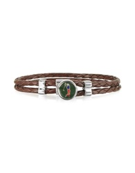 Forzieri Green Golfer Metal And Leather Men's Bracelet