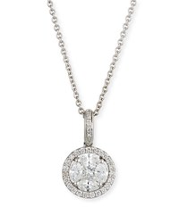 Zydo Mosaic Round Diamond Pendant Necklace In 18K White Gold